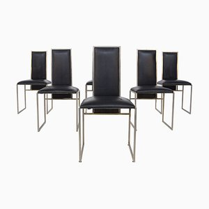 Italian Dining Chairs in Black Leather and Steel, Set of 6