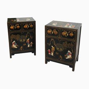 Vintage Hollywood Regency Chinoiserie Bedside Cabinets in Black, 1970s, Set of 2