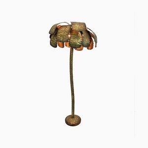 Vintage Hollywood Regency Brass Palm Tree Floor Lamp, 1970s