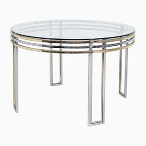 Italian Dining Table in Brass, Steel and Art Glass