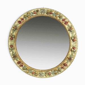 Round Carved Wooden Polychrome Mirror