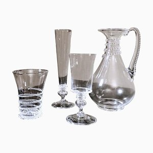 Glasses and Pitcher in Blown Murano Glass with Applied Decorations, Set of 37