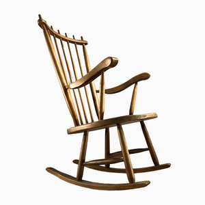 Solid Wood Rocking Chair, 1950s