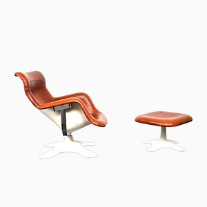 Cognac Leather Lounge Chair with Ottoman by Yrjo Kukkapuro for Haimi Karuselli, 1960s, Set of 2
