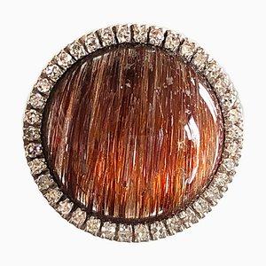8.5K Round Cabochon Rutilated Quartz & White Diamond Cocktail Ring from Berca