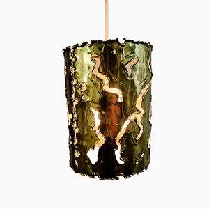 Brutalist Brass Pendant Lamp from Aladin, Spain, 1970s