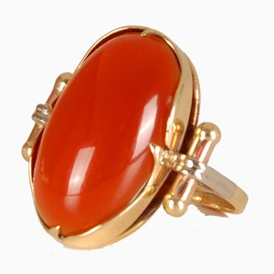 Vintage 14K Yellow Gold Statement Ring with Carnelian Agate Stone Cabochon Cut and White Gold Accent