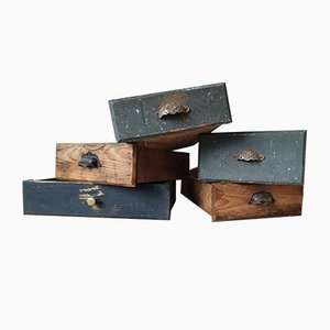 Antique Industrial Drawers, Set of 5