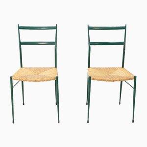 Metal Superleggera Chairs by Gio Ponti, Set of 2