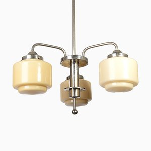 Art Deco Chandelier with 3 Opaline Shades, 1930s