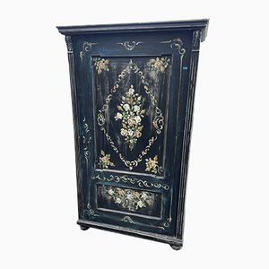 Parisian Black Cherry Wood Cabinet with Floral Paintwork