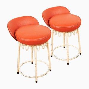 White Tubular Steel Bar Chairs, Set of 2