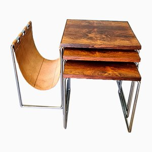Vintage Nesting Tables with Magazine Holder from Brabantia, Set of 3