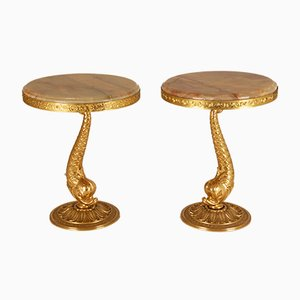 Mid-Century French Hollywood Regency Onyx Tables on Brass Dolphin Supports, Set of 2