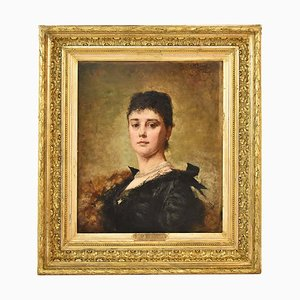 Antique Woman's Portrait, Oil Painting on Canvas, Late 19th Century