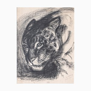 Eric Wansart (Ukkel, 1899 - Elsene, 1976), Drawing of a Panther in Charcoal, Signed and Dated