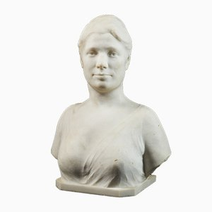 Marble Bust of Woman by Louis Dubar (Ghent, 1876 - Ghent, 1951)