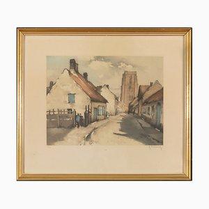 Roger Hebbelinck (Brussels, 1912 - 1987), City View of Mechelen, Lithograph 304/350