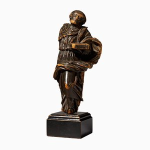 19th Century Flemish School Wooden Statue of Moses Holding the 10 Commandments