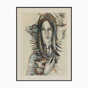 Akarova Marguerite (Sint-Joost-Ten-Node, 1904 - Elsene, 1999), Self Portrait, Drawing on Paper