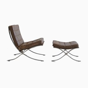 Vintage Barcelona Chair & Footstool from Knoll Inc. / Knoll International, Early 1970s, Set of 2