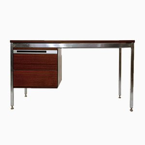 Desk in Chrome & Mahogany Wood by Pierre Guariche, France, 1960s