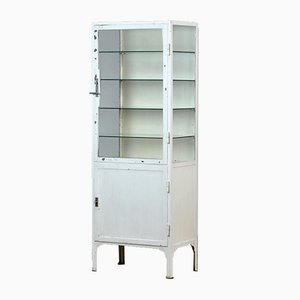 Medical Iron and Glass Cabinet, 1940s