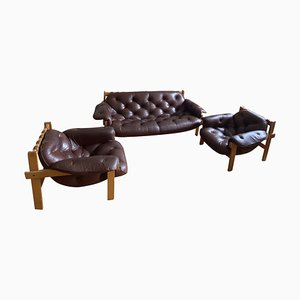 Couch, Lounge Chairs & Ottomans, Set of 5