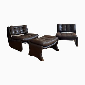 Lounge Chairs & Ottoman, Set of 3