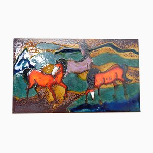 Vintage Ceramic 772 Plate with Horses from Ruscha, 1970s