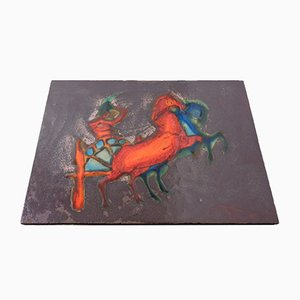Vintage Ceramic 769 Plate with Horseman & Horses from Ruscha, 1970s