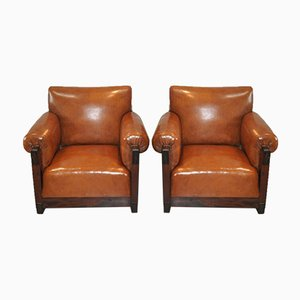 Art Deco Amsterdam School Armchairs in Sheep's Leather, 1920s, Set of 2