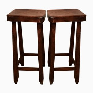 Wooden Stools, 1960s, Set of 2