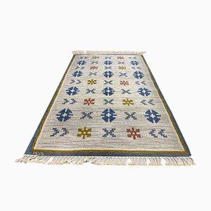 Scandinavian Handwoven Röllakan Wool Carpet by Anna Greta Sjöqvist, 1950s