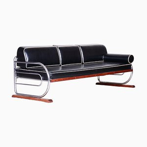 Restored Bauhaus Black Leather & Tubular Chrome Sofa by Robert Slezák, 1930s