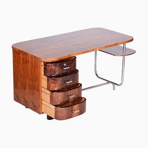Art Deco H-180 Writing Desk in Walnut & Chrome by Jindrich Halabala, 1930s