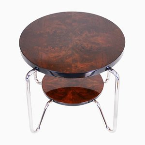 Tall Bauhaus Side Table in Chrome and Lacquered Wood from Kovona, 1950s