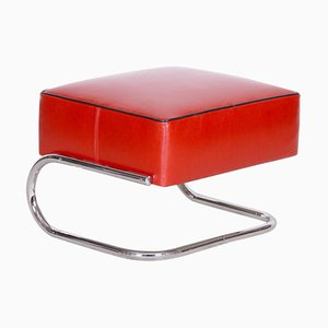 Modernist Tubular Stool in Red Leather & Chrome-Plated Steel from Slezák, 1930s