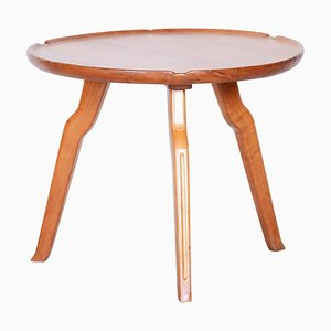 Small Mid-Century Czech Brown Cherry Round Table, 1940s