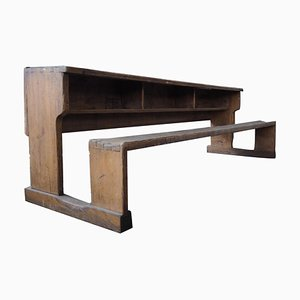 Long Vintage Solid Wood School Bench with Original Paint, 1930s