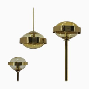 Space Age Brass Floor Lamp, Pendant and Table Lamp from Kamenicky Senov, 1970s, Set of 3