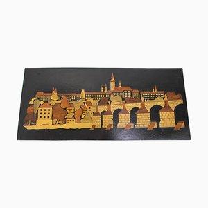 Mid-Century Wooden Illustration of Prague, 1950s