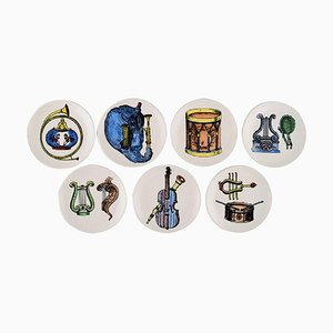 Musica d'Orchestra Bottle Trays by Piero Fornasetti for Bucciarelli, Set of 7