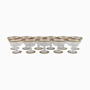 Champagne Glasses in Mouth-Blown Murano Art Glass by Nason & Moretti, 1930s, Set of 11