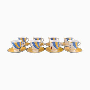 Porcelain Circus Coffee Cups with Saucers from Hermès, Late 20th Century, Set of 8