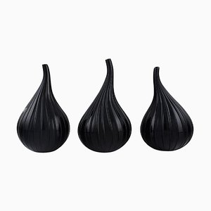 Drop-Shaped Vases in Black Murano Art Glass by Renzo Stellon for Salviati, Set of 3