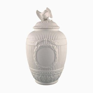Antique Empire Blanc De Chine Lidded Vase with Garlands and Eagle from KPM Berlin