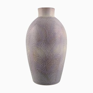 Vase in Glazed Ceramic with Leaf Decoration by Nils Thorsson for Royal Copenhagen