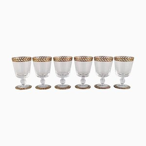White Wine Glasses in Mouth-Blown Murano Art Glass by Nason & Moretti, 1930s, Set of 6
