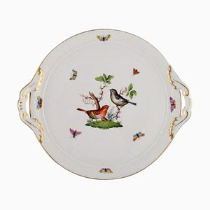 Round Rothschild Bird Serving Dish with Handles in Hand-Painted Porcelain from Herend